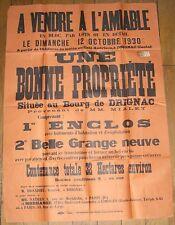 DRIGNAC (Cantal) grande et rare affiche de vente d'une propriété octobre 1930