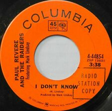 PAUL REVERE & THE RAIDERS I Don't Know COLUMBIA Garage Rock PROMO Original #C540
