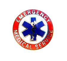 EMS Collar Pin Device Emergency Medical Service Red Silver Star of Life 55S2 New