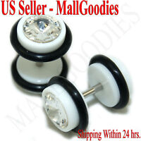 1159 Fake Cheaters Illusion Faux Ear Plugs 16G Bar Look 0G White Solid Clear CZ