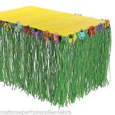Green Flowered Artificial Grass Table Skirt...Hawaiian...Tropical Luau...Party