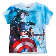 Disney Store Captain America Iron Man Sumlimated Art Shirt Boys 5/6 7/8 10/12 14