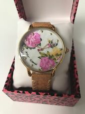 NWT Rare Betsey Johnson Yellow and pink roses floral watch tan leather band