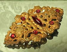 1800s GOLD Plated VICTORIAN Sash/Belt BUCKLE~Ruby Red ROSE CUT RHINESTONES~Nice!