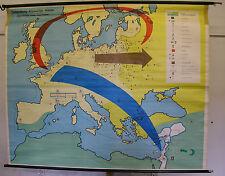 Schulwandkarte map Ostsiedlung Kreuzzüge Hanse Ritter Bauern Händler 208x166cm