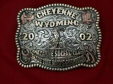 2002 RODEO VINTAGE TROPHY BELT BUCKLE~CHEYENNE WYOMING ROPING CHAMPION 816