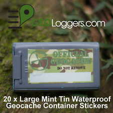 20 x *NEW* GEOLoggers Large Mint Tin Geocache Container Camo Stickers WATERPROOF