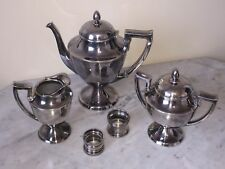 Vintage Columbian Silver Plated Coffee, Creamer, Sugar Bowl Set - Napkin Rings