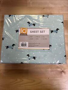 Intelligent Design ID20-1440 Wrinkle Free Sheet Set Twin Size Novelty Aqua Dogs