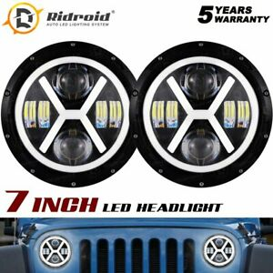 "7"" Round LED Headlight Halo Angel Eyes For Hummer H1 02-06 H2 02-09 AM General"