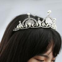 Bridal Princess Crystal Pearl Tiara Wedding Crown Veil Hair Jewelry Silver