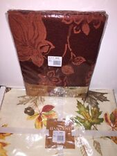 "HARVEST SEASON Fabric Tablecloth 60 in x 102 in Oblong & 4 Placemats ""Leave"