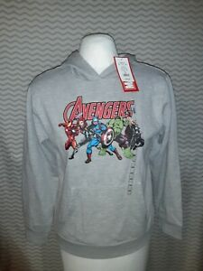 NWT Marvel AVENGERS Grey Hooded Sweatshirt Long Sleeve Size Large