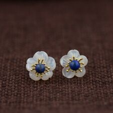 925 Sterling Silver Lapis Lazuli Mother of Pearl Flower Post Stud Earrings A1060
