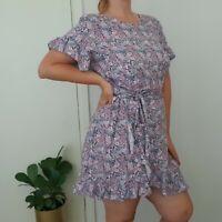 Decjuba Maya Ruffle Linen Blend Floral Dress 14 L Pink Purple Blue Wrap Mini
