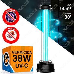 LAMPADA Raggi UV-C Ozono 38W GERMICIDA Luce SANIFICAZIONE AMBIENTI BATTERI VIRUS