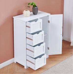 White Four Drawers Bathroom Room Storage Cabinet