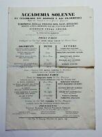 Bando Opera Lirica Musica Bellini-Doninzetti sala Comunale Jesi 29 giugno 1836