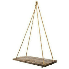 Rustic Craft Wooden Rope Wall Hanging Shelves Room Swing Rack Floating Decor New