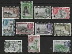 Nyasaland 1945 KGVI Pictorial Issue - SS to 2/6d - MH