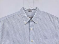 Peter Millar Crown Vintage Blue Striped Button Front Casual Oxford Shirt Large