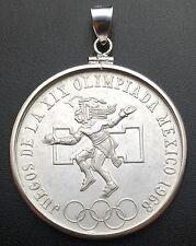 Silver Pendant W/ a 1968 25 Pesos Juegos De La XIX Olympiada Mexico Silver Coin