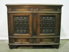 Beautifully Crafted 1920's Walnut Jacobean Server W/Carved Linenfold Panel Doors