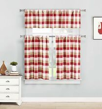 Kingsville Cherry Red Beige Window Curtains: Country Buffalo Checkered Design