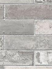 Grey Brick Wall Wallpaper/ Dark Grey Faux Bricks Prepasted Vinyl Wallpaper