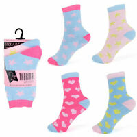 Girls 2 Pairs Thermal Hearts & Stars socks size 9 -12 12-3 4-6 Age 4-Teenage