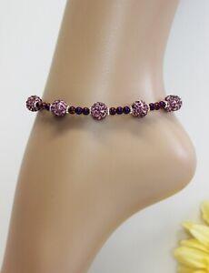 Glass Jewellery XS Mini Silver Ankle Chain Pearls Rhinestone Variable #JA032