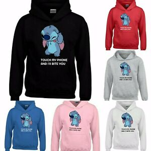 STITCH-TOUCH MY PHONE NOVELTY YOUTUBERS FUNNY HOODIE MEN WOMEN KIDS TEEN UNISEX