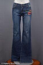 Ed Hardy woman's jeans size 26 blue gem bead flowers tatoo casual Audigier