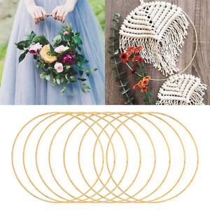 10-40cm Gold Floral Hoop Metal Ring Flower Wreath Garland Wedding Hanging Decors