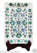 """6""""x4"""" White Marble Serving Tray Plate Malachite Inlay Mosaic Art Best Gift H1884"""