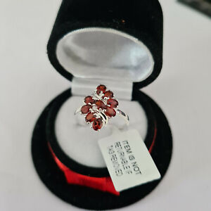 Mozambique Garnet cluster ring in Sterling silver