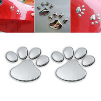 2PCS Car Silver 3D Bear Cat Dog Paw Foot Prints Window Bumper Body Decal Sticker