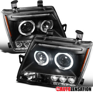 For 2005-2012 Nissan Xterra Black LED Halo Projector Headlights Left+Right