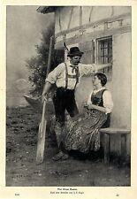 J. F. Engel Vor ihrem Hause Bauern- Tracht- Motiv Histor. Druck v. 1901