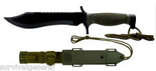 "12"" OD Green Survival Hunting Knife Sheath Military Combat Bowie Tactical Saw"