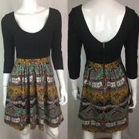 $148 Maeve Anthropologie Women's 4 Black Colorblock Paisley Pleated Flare Dress