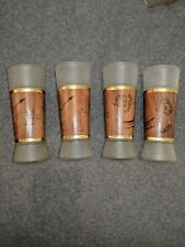 Set Of 4 Vintage Siesta Ware Frosted White Glasses With Walnut Wood Jackets.