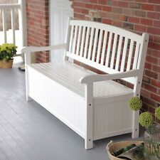 White Wood 4-Ft Outdoor Patio Garden Bench Deck Box with Storage (CBOWS58198151)
