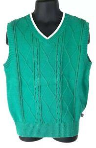 E-Land American Classic Boys Green V-Neck Cable Knit Sweater Vest Size 6 Cotton