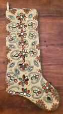 Kim Seybert Bejeweled Encrusted Multicolor Beaded Christmas Stocking
