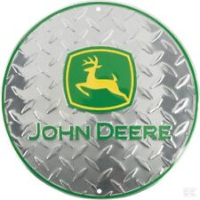 John Deere Round Plaque En Métal Signe Mural 300 M argent Checker Plaque