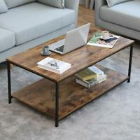 Industrial Accent Coffee Table Modern Home Furniture Wood Rustic +Storage Shelf