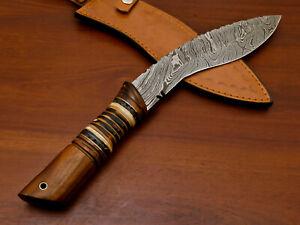 Rody Stan HANDMADE DAMASCUS CUSTOM BONE & WOOD LARGE KHUKRI KUKRI BOWIE KNIFE