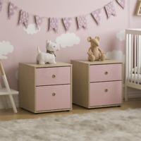 Chest of Drawers 2 Drawer Bedside Table Bedroom Furniture Pink & Oak Set of 2