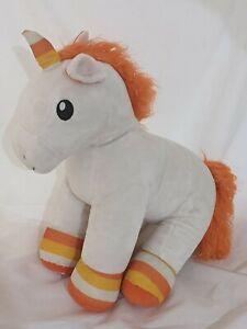 Build a Bear Halloween Candy Corn Unicorn Plush Pony Rainbow Orange White